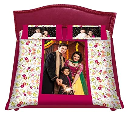 Personalized Bedsheets 40x60 Prints With 2 Pillows Your Personal Photo And  Small Wishes.u0026 Customised