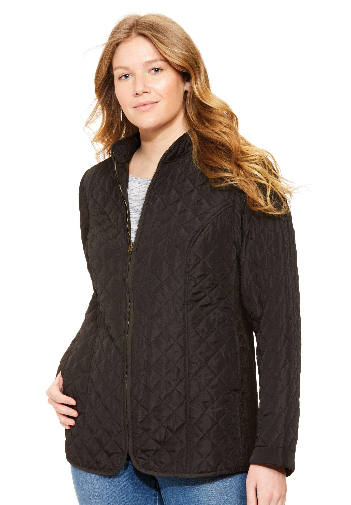 Woman Within Women's Plus Size Zip-Front Quilted Jacket - Black, 3X by Woman Within