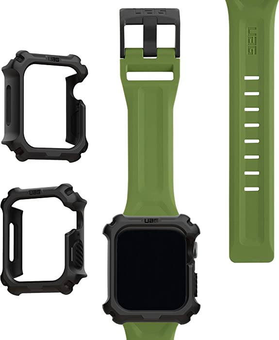 UAG Apple Watch Band 44mm 42mm, iWatch Series 6/5/4/Watch SE Replacement Strap, Scout Olive + Apple Watch Case 44mm, iWatch Series 6/5/4/Watch SE Protective Bumper Case, Black/Black