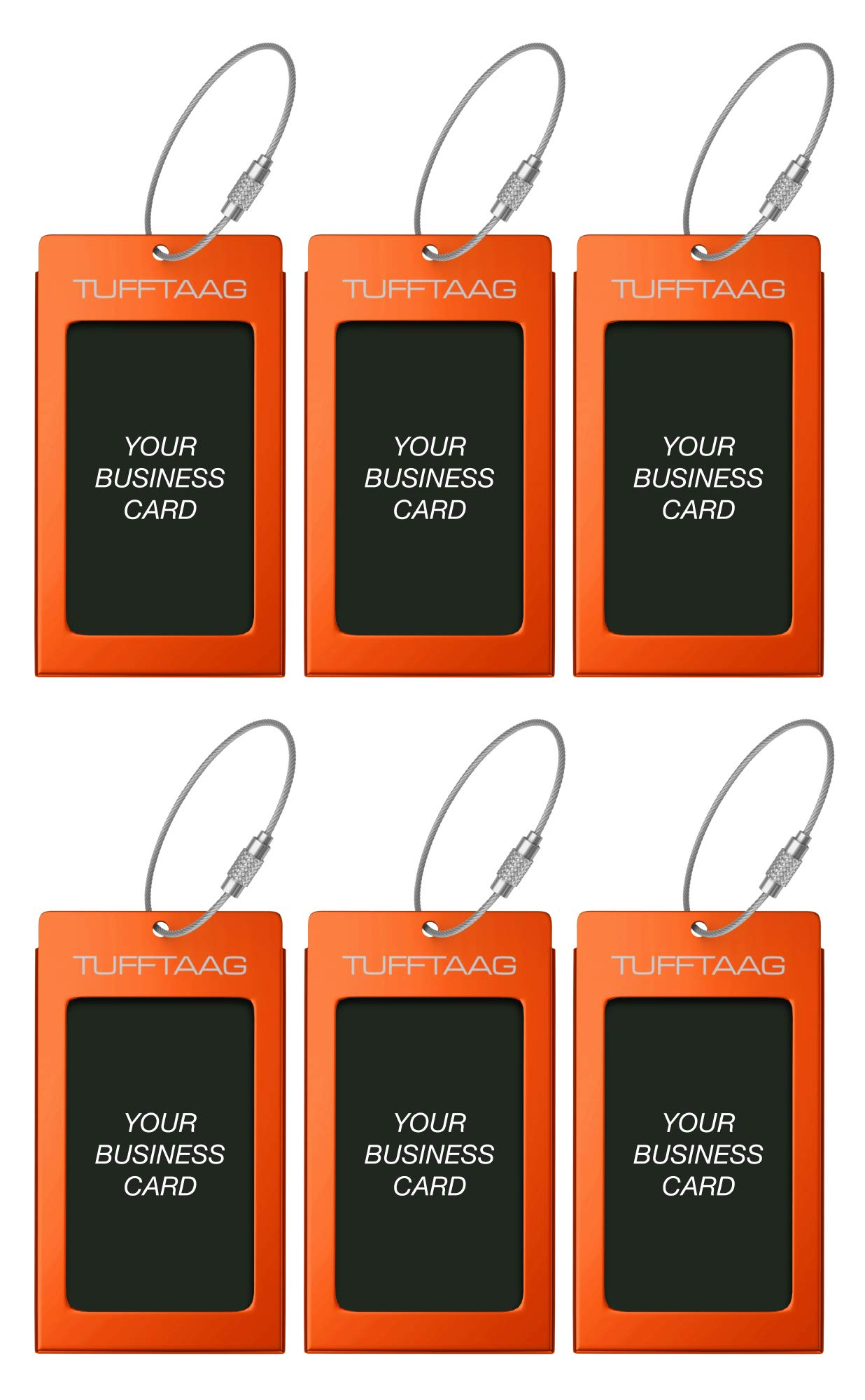 Luggage Tags TUFFTAAG for Business Cards, Metal Suitcase Labels, 6 Pack Bundle (6 Orange)
