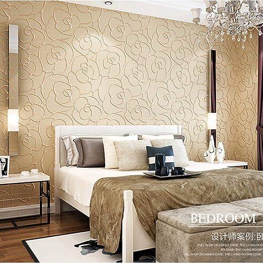 KeTian Modern Minimalistisch 3D Rose Blume Vlies tief geprägtes  strukturiertes Wohnzimmer Schlafzimmer Tapete Roll Beige Farbe 0.53m (1.73  \'W) x 10m ...