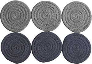 6pcs Cotton Absorbent Coasters Set for Drinks Braided Woven Table Coasters Decorations for Dining Kitchen Office Party Supplies