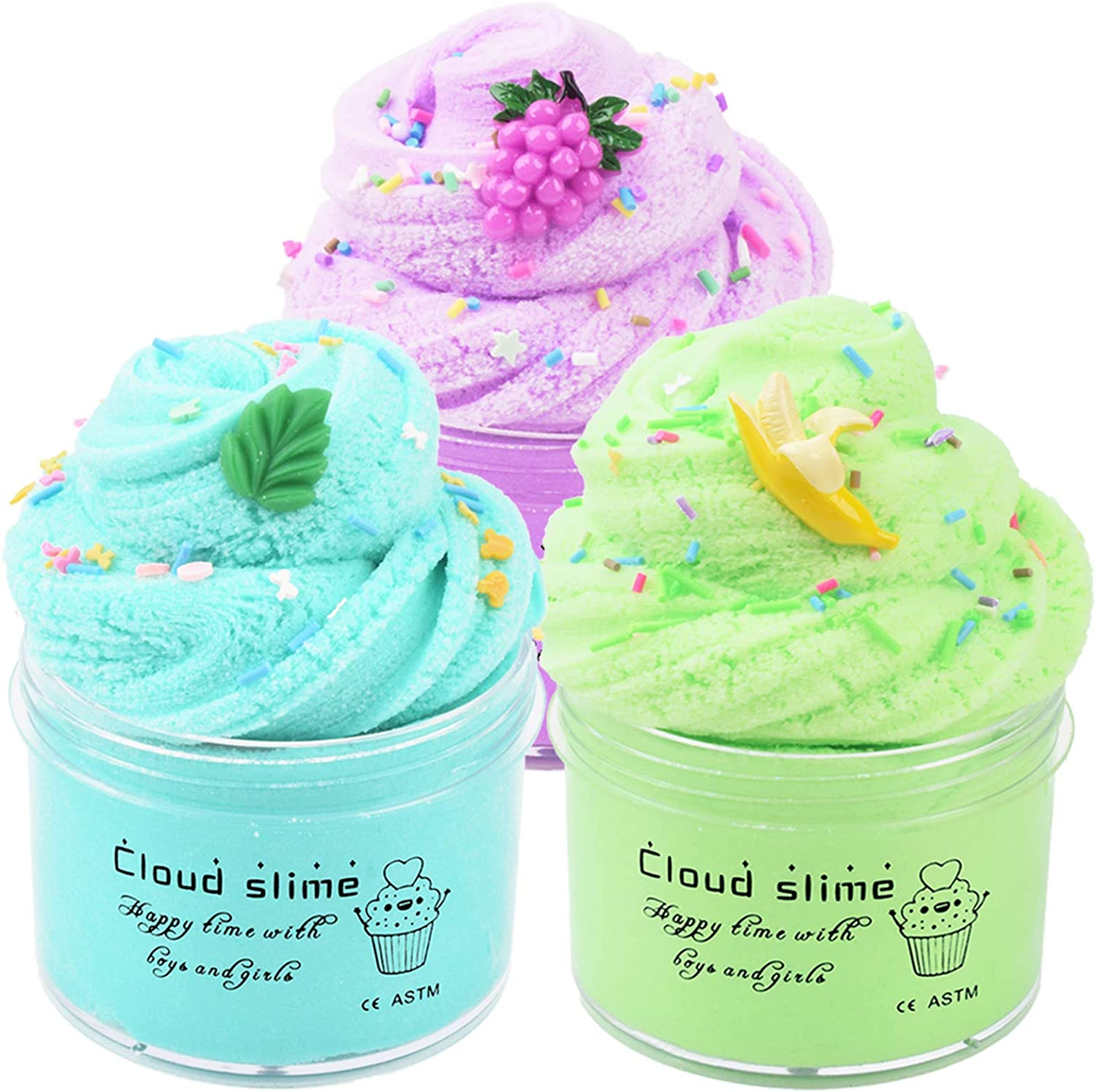 Fruit Cloud Slime Kit 3 Pack with Grape Slime, Banana Slime and Mint Slime, Super Soft Putty Non-Sticky Sludge Toys, Birthday Gifts Kids Party Favors for Girls and Boys