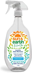 Stain Remover for Clothes by Sun & Earth, Free & Clear, Fights The Toughest Stains with The Power of Enzymes, Safe for The Whole Family, Non-Toxic, Fragrance-Free, Made in The USA, 32 oz