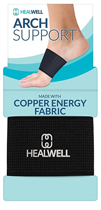 Amazon.com : Healwell Plantar Fasciitis Arch Support Flat Foot Brace Copper Compression Shoe Insert Heel Spur Pain Relief Sleeves For Therapy and Exercise ...