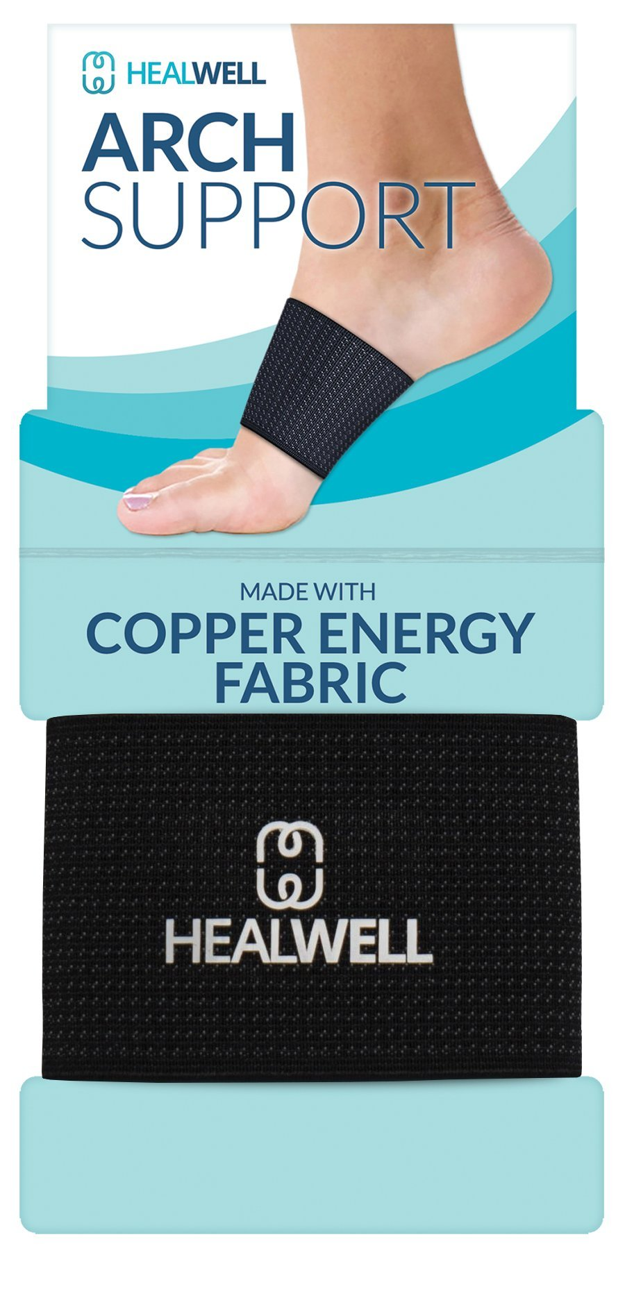 Healwell Plantar Fasciitis Arch Support Flat Foot Brace Copper Compression Shoe Insert Heel Spur Pain Relief Sleeves For Therapy and Exercise Men and Women - Pack of 2 … by Healwell