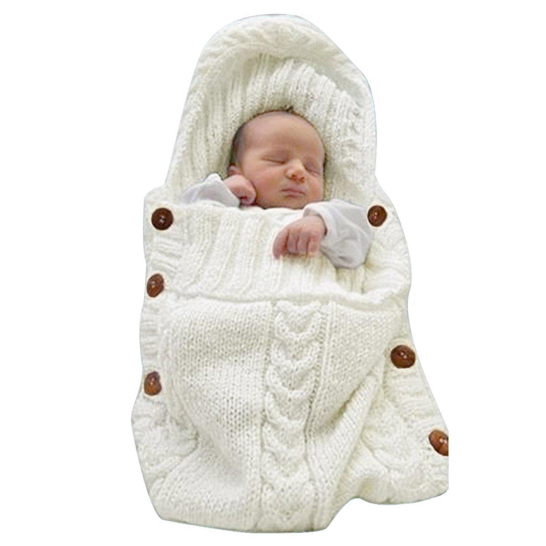 LANSHULAN Newborn Baby Blanket Toddler Sleeping Bag Sleep Sack Stroller Wrap (White)