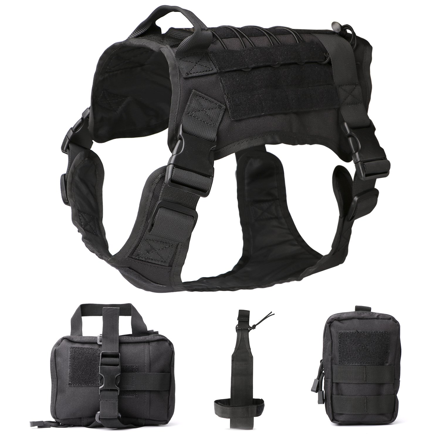 03-Black L 03-Black L JASGOOD Tactical Dog Vest Military Harness with Detachable Molle Pouches Patches Outdoor Training Handle Service Dog Vest (L, 03-Black)
