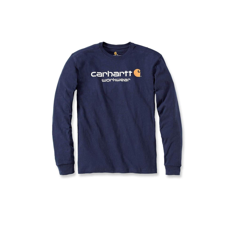 Carhartt Mens Core Long Sleeve Polycotton Crew Neck Logo T-Shirt ...
