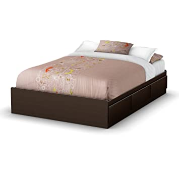 south shore storage full bed collection 54 inch full mates bed chocolate - Bed Frames With Storage Full