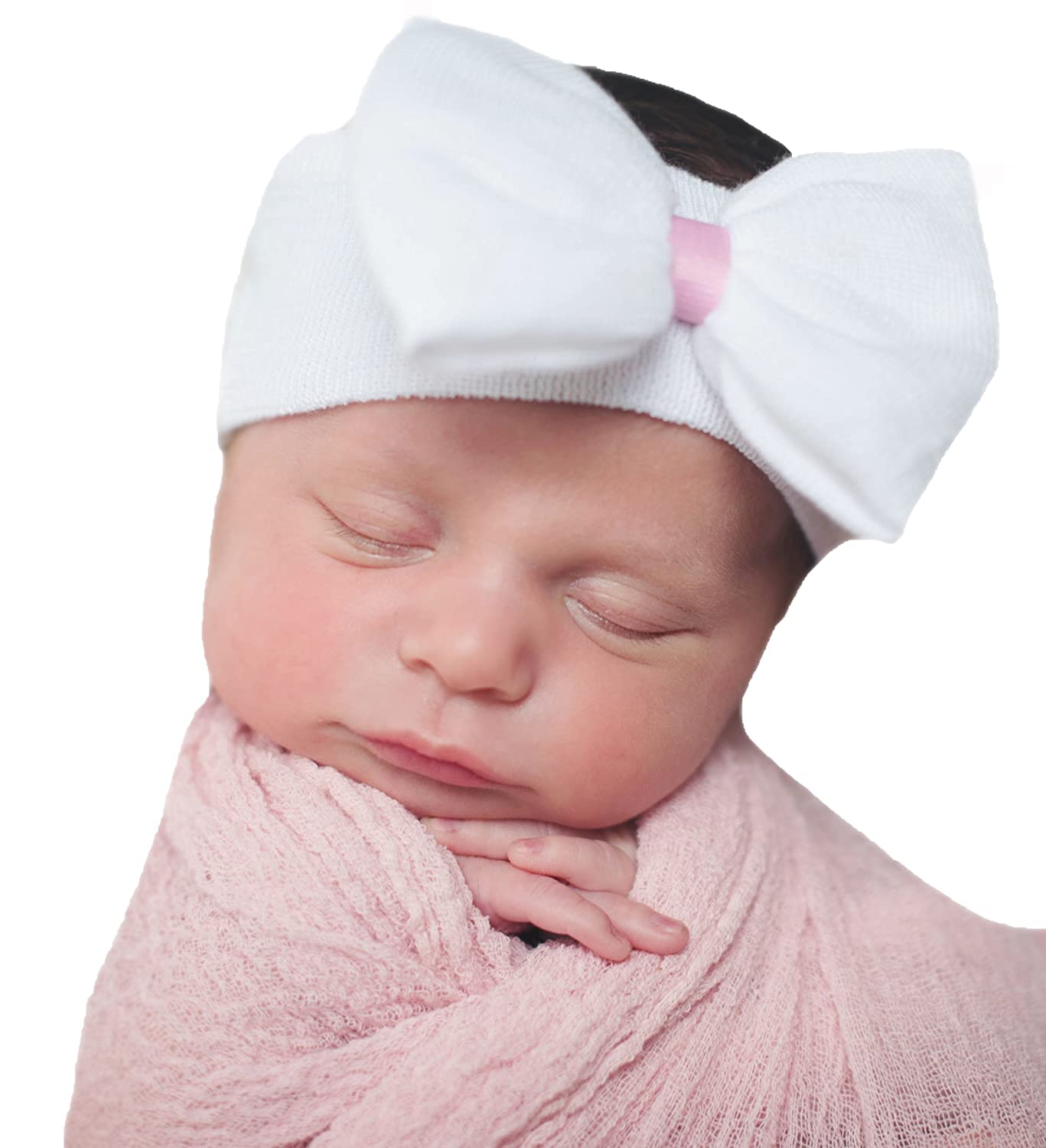 Melondipitys White Nursery Big Bow Headband with Pink Ribbon for Newborn Girl