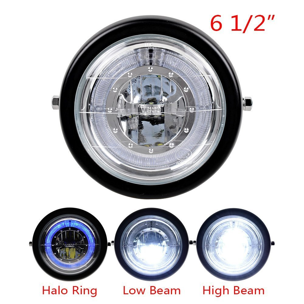 TASWK 6 1/2'' CREE LED Motorcycle Retro Black Clear Lens Headlight Halo Ring for Harley Bobber Cafe Racer Cruiser Vintage Style by TASWK (Image #4)