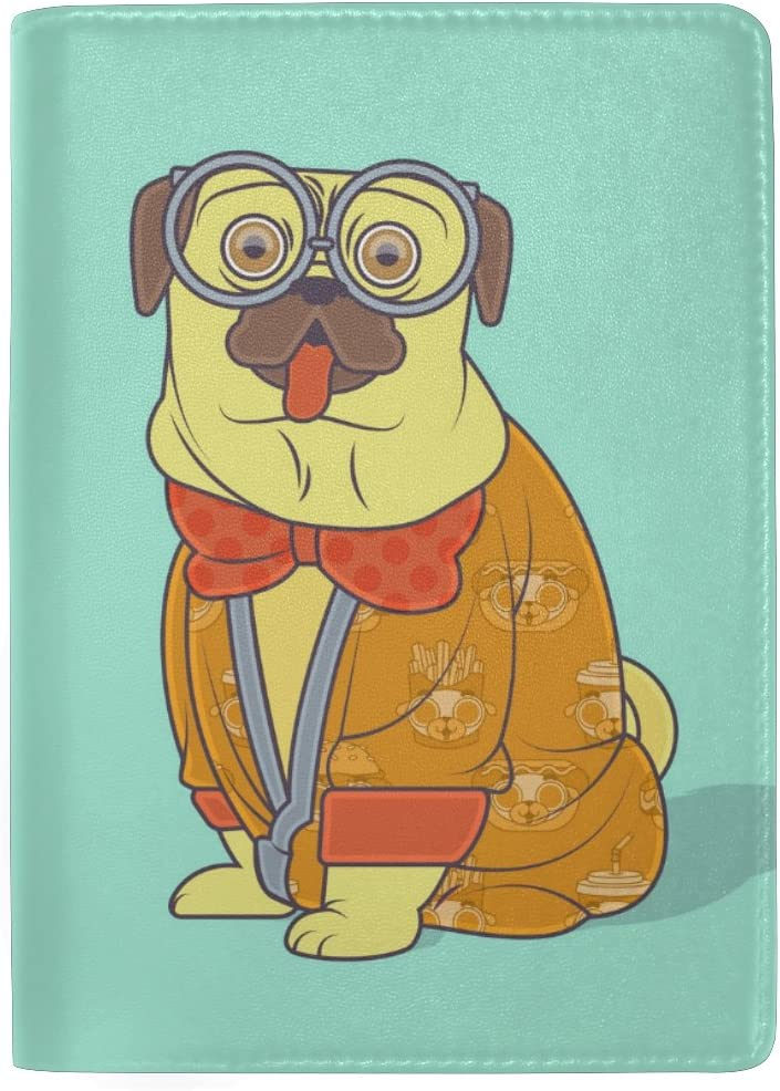 Moon Pug Puppy Real Leather Passport Holder Wallet Case Cover for Men Women