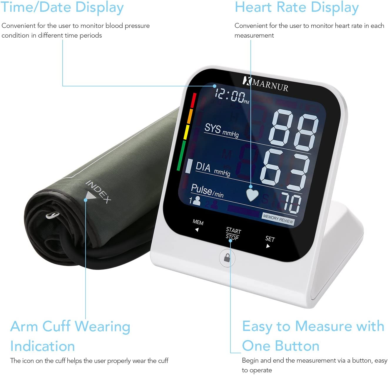 MARNUR Blood Pressure Monitor Upper Arm with Large BP Cuff Heart Rate Date Time High Accurate LCD Display Touch Screen FDA Approved Home for 2 Users