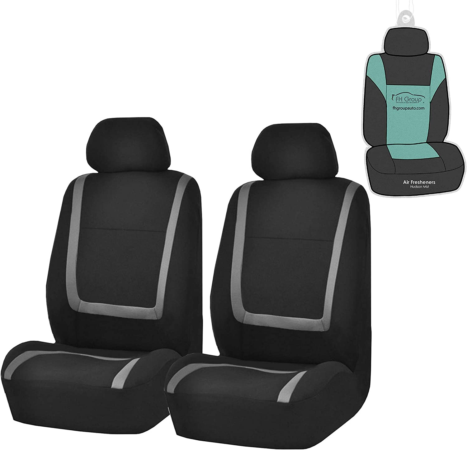 FH Group FB32102 Unique Flat Cloth Seat Covers, Gray/Black- Fit Most Car, Truck, SUV, or Van - with Gift