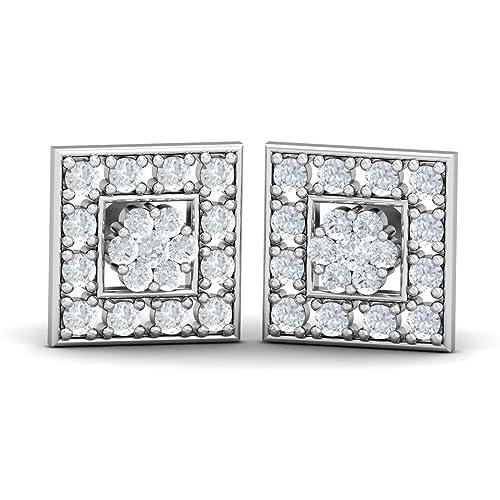 KuberBox 14k White Gold Diamond Stud Earrings Women at amazon