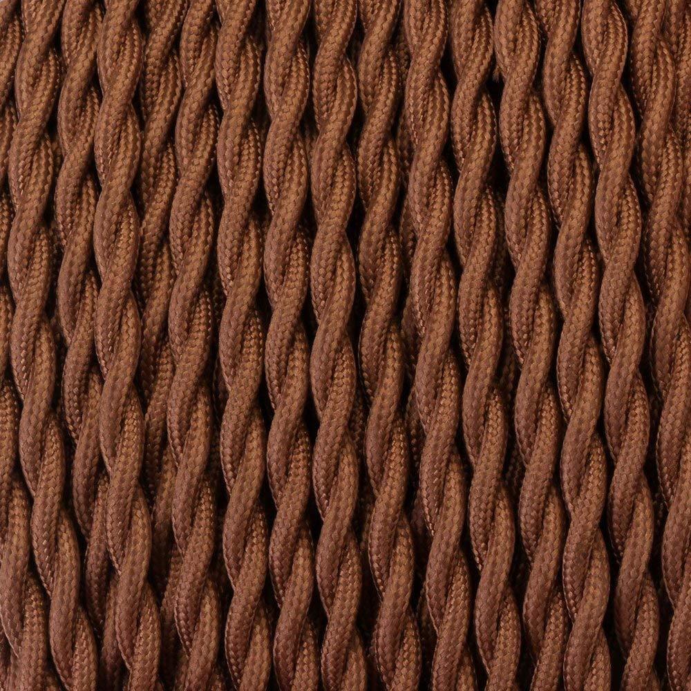 Cable trenzado vintage de 2 n/úcleos con iluminaci/ón LED cable el/éctrico de bricolaje cable de tela de ray/ón trenzado de 10 m color marr/ón