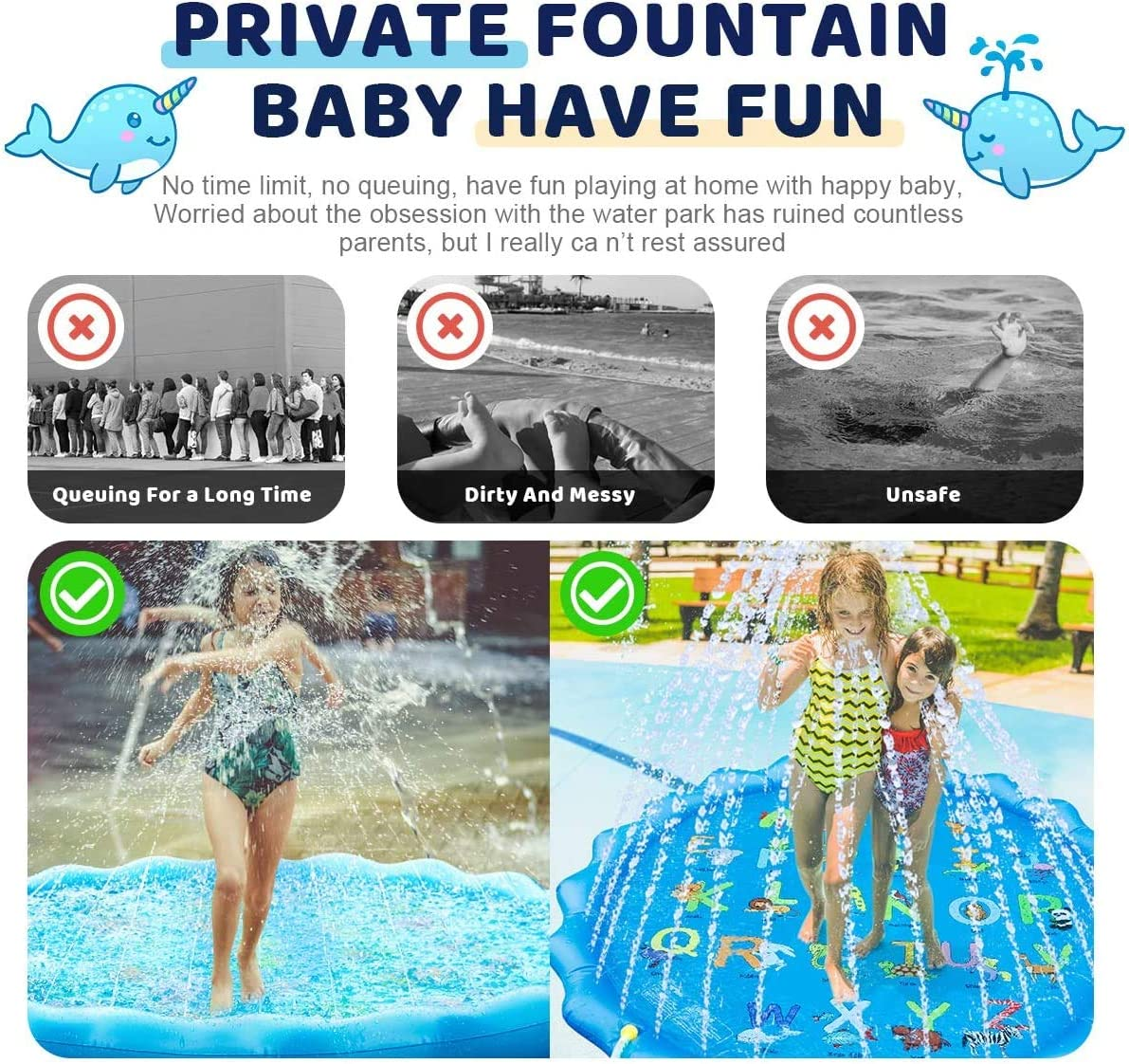 """EBODASprinkler for Kids, Splash Pad, Outdoor Water Play Sprinklers Mat 68"""" Toddler Water Toys Fun for 1-12 Years Old Children Boys Girls-""""from A to Z"""" Outdoor Swimming Pool for Babies and Toddlers: Toys & Games"""