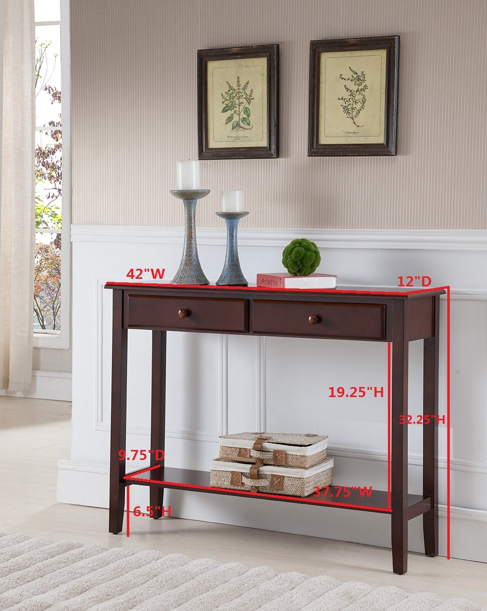 shelf sofa espresso consoles tables drawers tier table two entry console and finish with