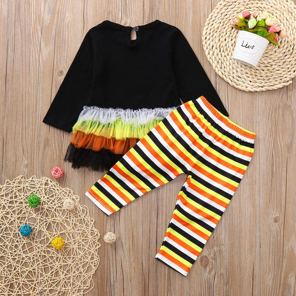 47031dc91 Amazon.com: LIKESIDE Toddler Baby Girls Long Sleeve Pumpkin Letter Print  Tops+Pants Halloween Outfits: Clothing