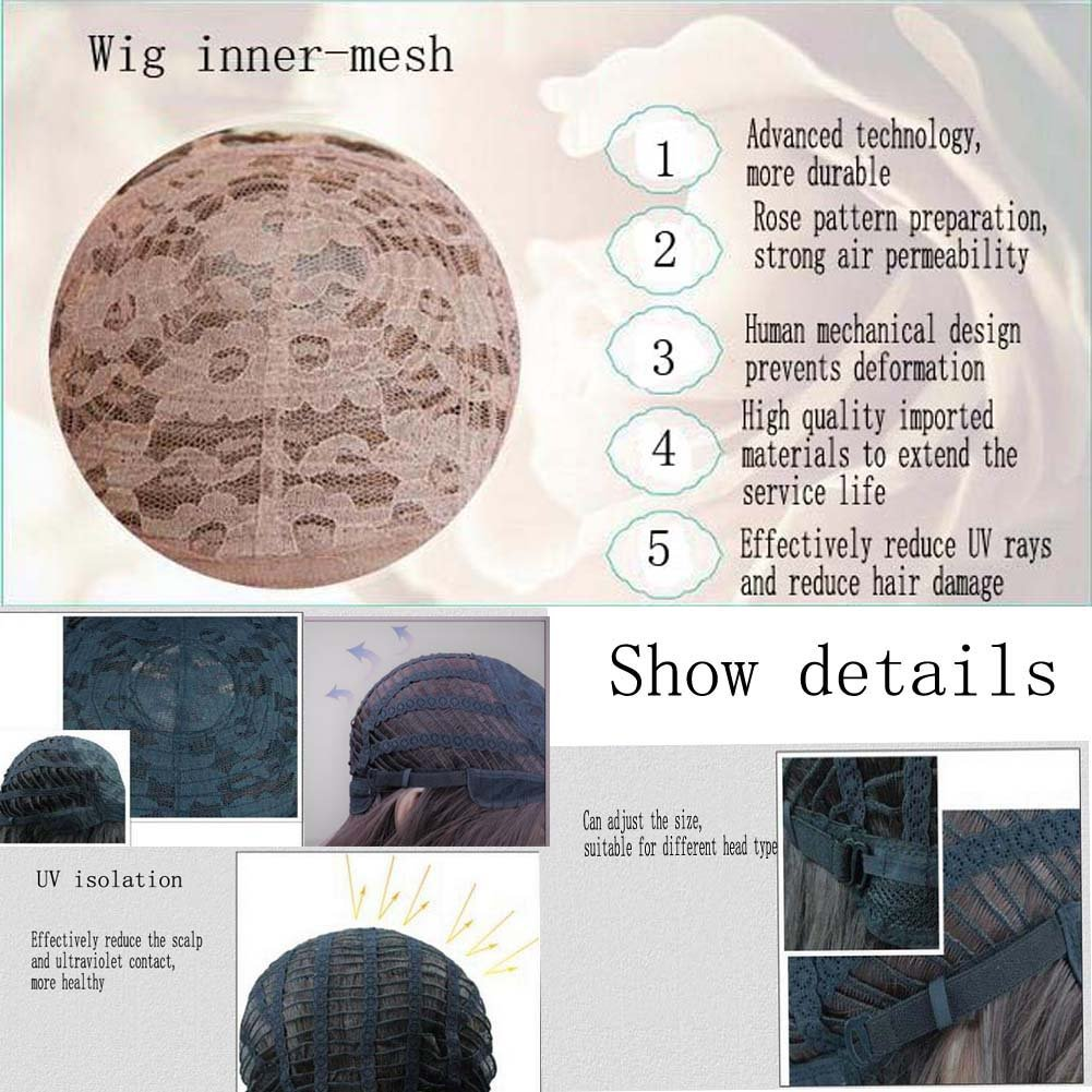 ATAYOU-WIG 2 Tones Medium Length Bob Women's Cosplay Synthetic Wigs (Half black Half white)