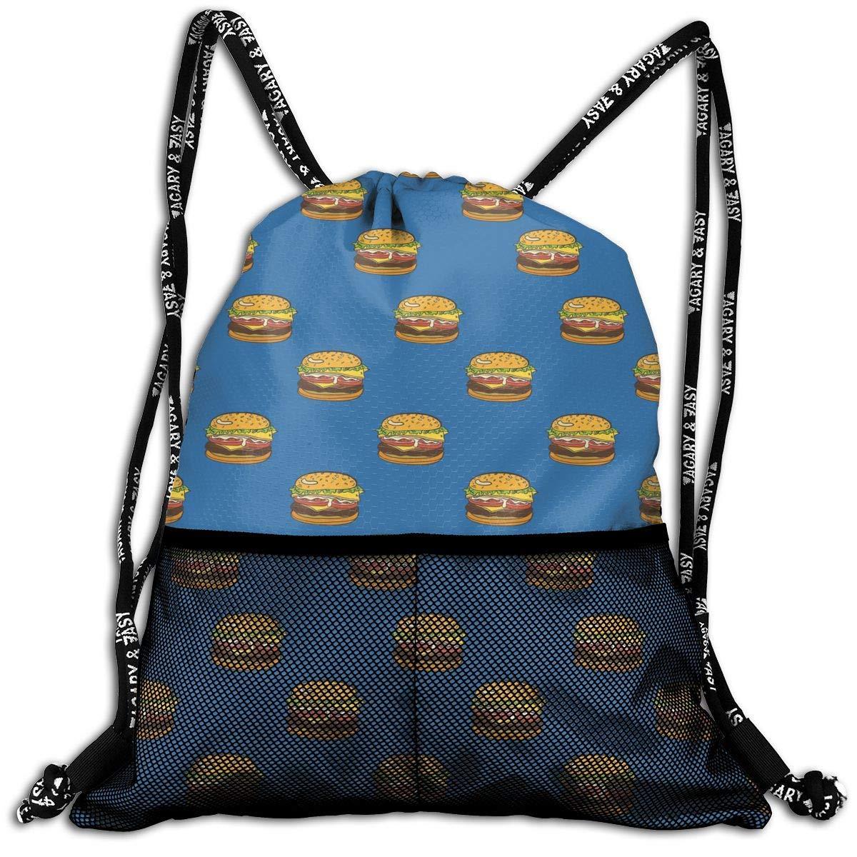 Hipiyoled Fries Burgers FUUNY Cartoon Pattern Durable Sport Drawstring Backpack for School Soccer Yoga