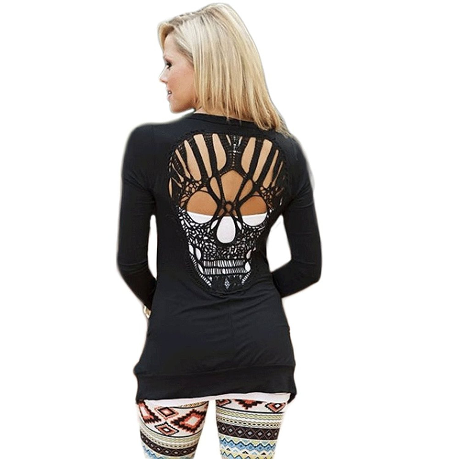 WLLW Womens Long Sleeve Open Front Back Cut Out Skull Cardigan Tops
