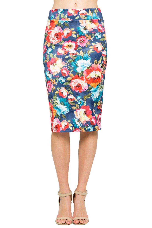 HerShe Women's Comfort Stretch Pencil Midi Skirt (Medium, S02936SKEI Denim Floral)
