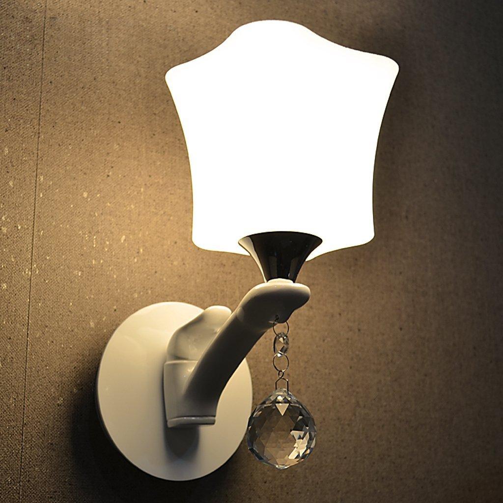 Weißes Metall Farbe einem Kopf Einfache Wand Lampe Rein weißes Quadrat Glasschirm Korridor Nachttischlampe Wandleuchte