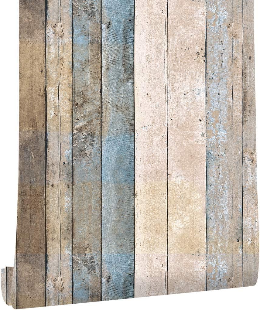 Amazon Haokhome 5ビンテージ木目ウッドパネル壁紙ロール53cmx10mブルー ベージュ ブラウン木製プランク壁画ホームキッチンバスルーム装飾 Diy 工具 ガーデン