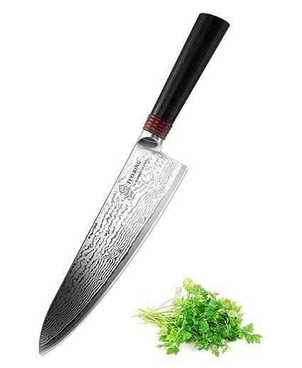 Cuchillo de Cocinero 20.32cm - TUO Cutlery Ring Series ,Japonés 67 Capas VG-10 Damasco Acero (TC0301)