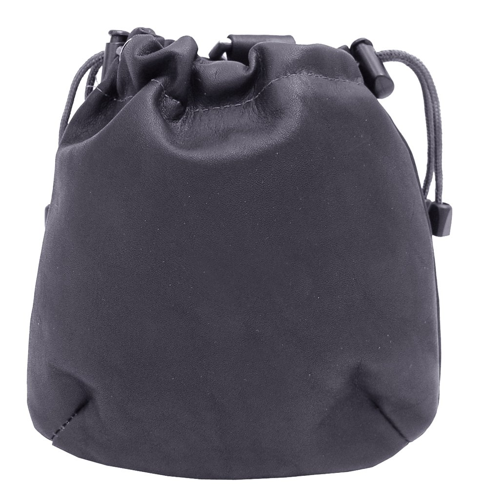 Women's Genuine Black Piel Leather Drawstring Pouch Bag