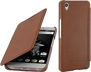 StilGut Book Type, Housse en Cuir avec Fonction Smart Cover pour OnePlus X, en Cognac
