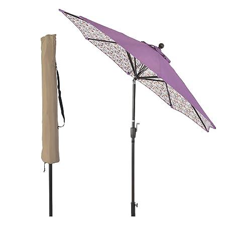 LCH 8.6 ft Novelty Design Outdoor Umbrella Patio Backyard Deck Table Umbrella with Sturdy Pole, 8 Ribs, Crank Open, Push Button Tilting, Purple Daisy