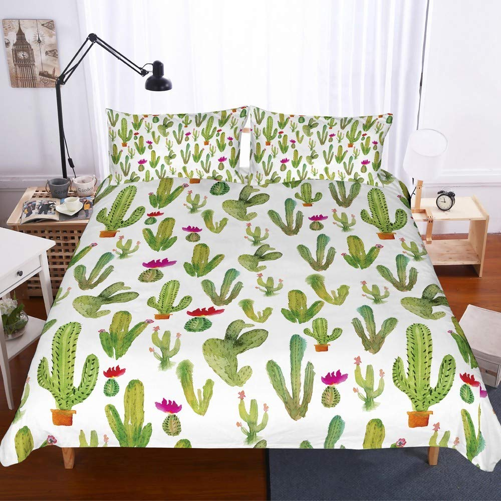 REALIN Tropical Zone Cactus Bedding Succulent Duvet Cover Set Tropical Cacti Plants Leaf Bed Sets for Childs Adult,2/3/4PCS Microfiber Quilt Covers/Sheets/Pillow Shams,Twin/Full/Queen/King Size by REALIN