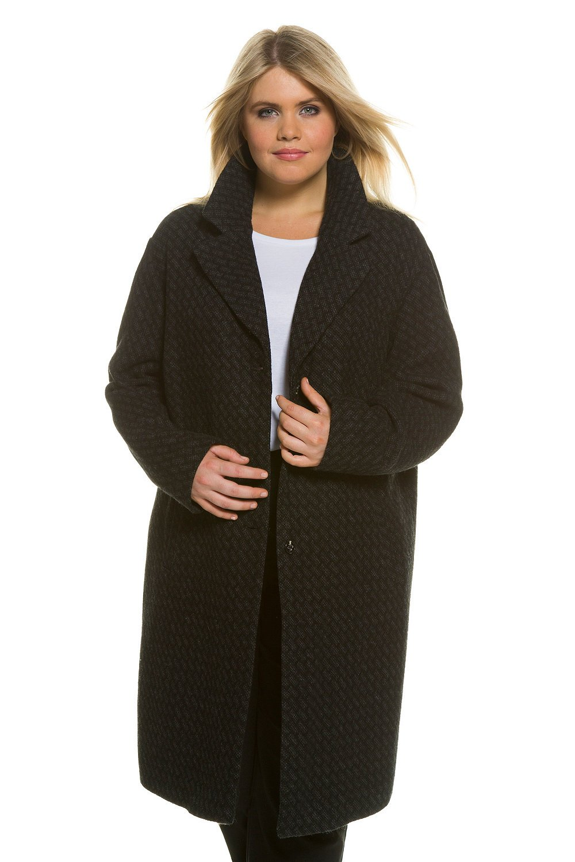 Ulla Popken Women's Plus Size Long Wool Blend Business Coat Dark Grey Mélange 24/26 706300 11 by Ulla Popken