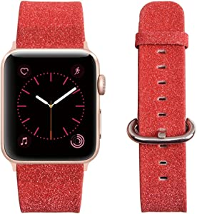 MIFFO Compatible Apple Watch Band 38mm 40mm 42mm 44mm, Leather iWatch Strap Extreme Deluxe Bling Glitter Bracelet Wristband Apple Watch Series 4 Series 3 Series 2 Series 1 Sport Edition
