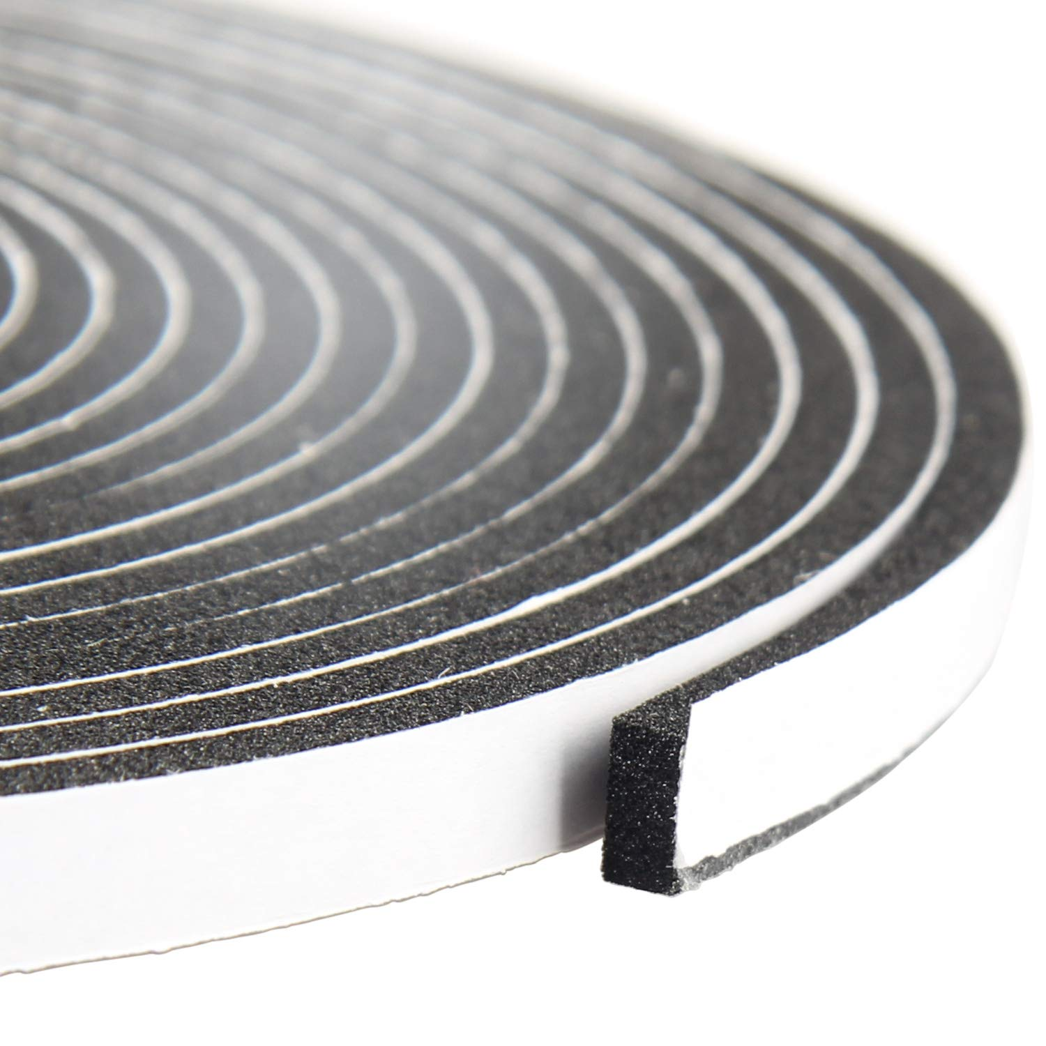 Foam Tape 1/4 Inch Wide X 1/8 Inch Thick, Weather Stripping for Doors and Window High Density Foam Seal Tape Sliding Door Weather Strip, Total 50 Feet Long (3 Strips of 16.5 Ft Long Each)