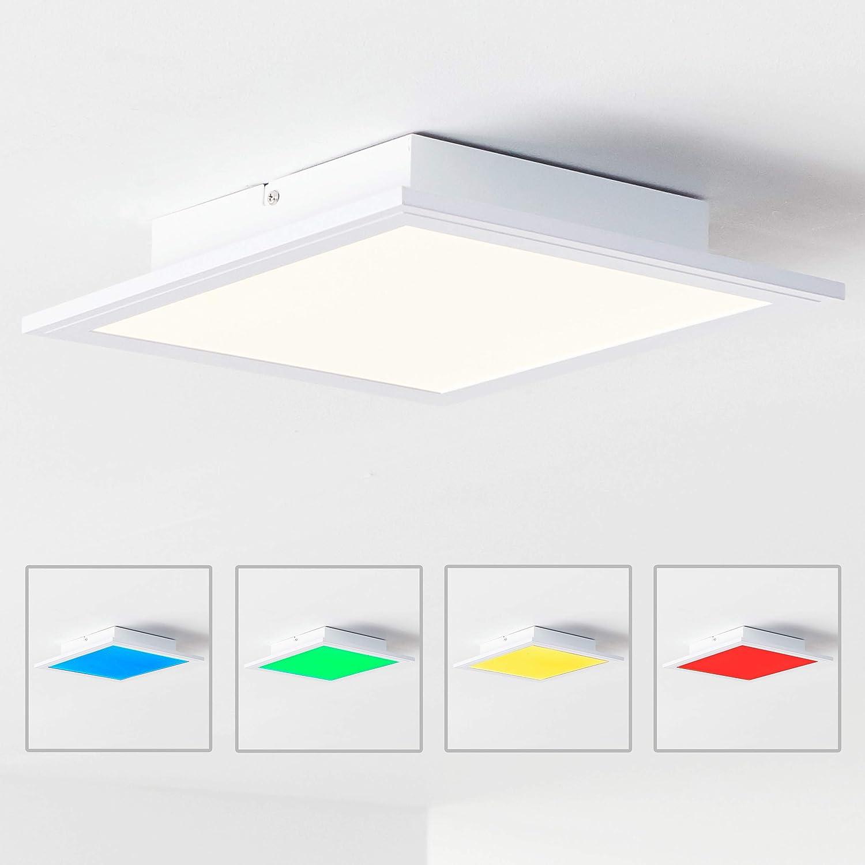 LED Panel Deckenleuchte 30x30cm, RGB Farbwechsel, Fernbedienung, 1x 18W LED integriert, 1x 1850 Lumen, 2700-6500K, Metall Kunststoff, weiß