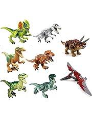 ArRord 8Pcs Jurassic Dinosaur Building Blocks Sets Dinosaur Bricks Toy Compatible with Lego