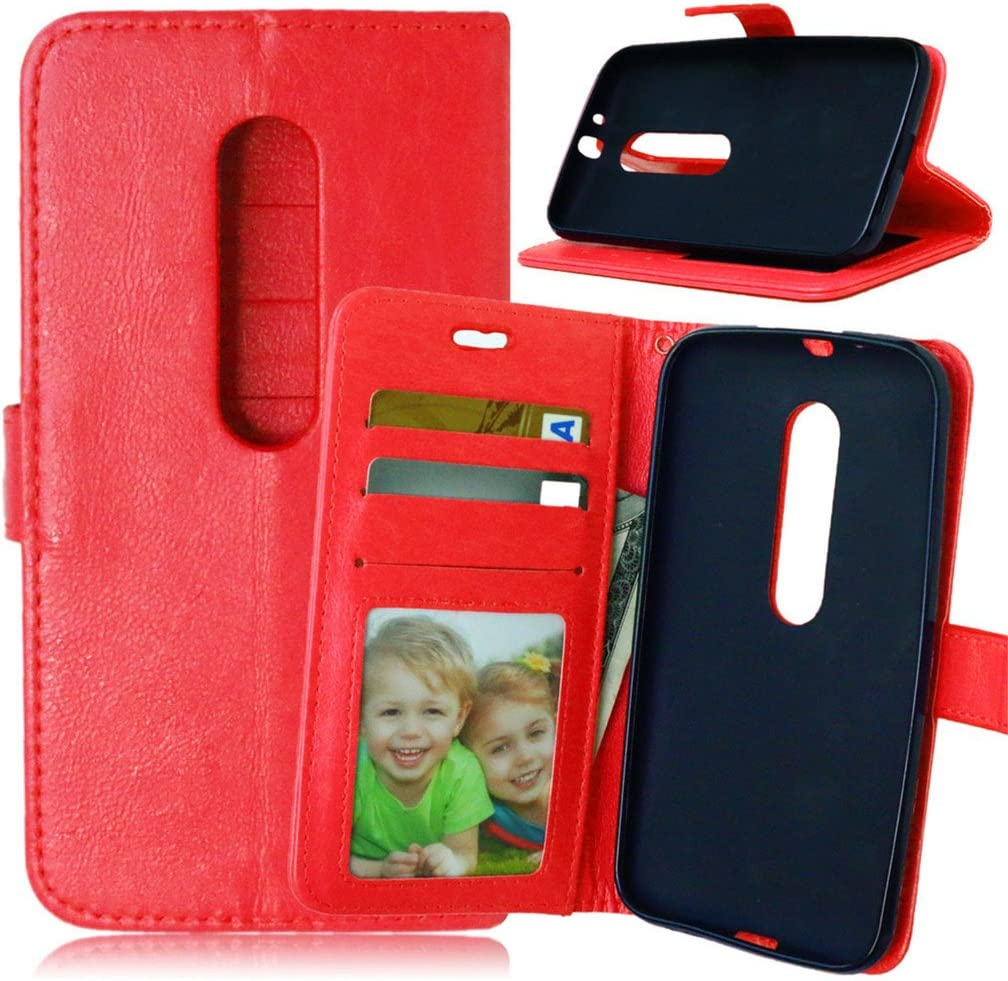 Moto G 3rd Gen Case,Gift_Source [Red] [Wallet Function] [Stand Feature] Magnetic Snap Case Wallet Case Flip Case Cover with Multiple Card Slots for Motorola Moto G (3rd Generation)