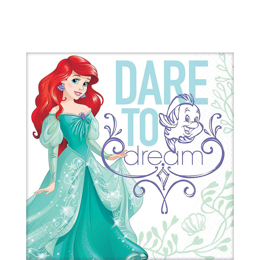 Disney The Little Mermaid Ariel Birthday Girls Party Luncheon Napkins 32 Count NEW Set by DB Gifts (Image #1)