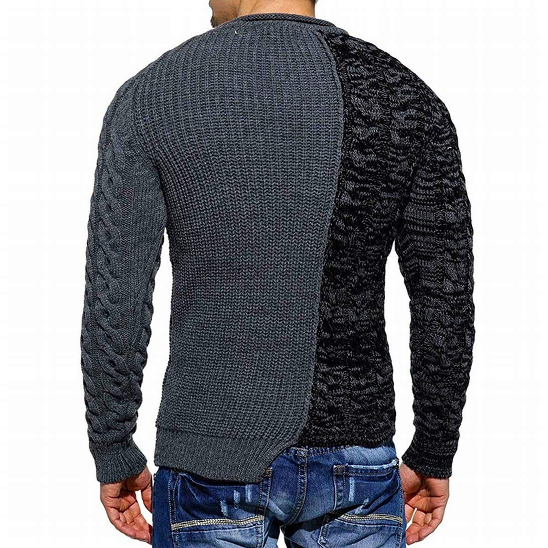 KLJR Men Casual Patchwork Long Sleeve Crewneck Pullover Knitted Sweater