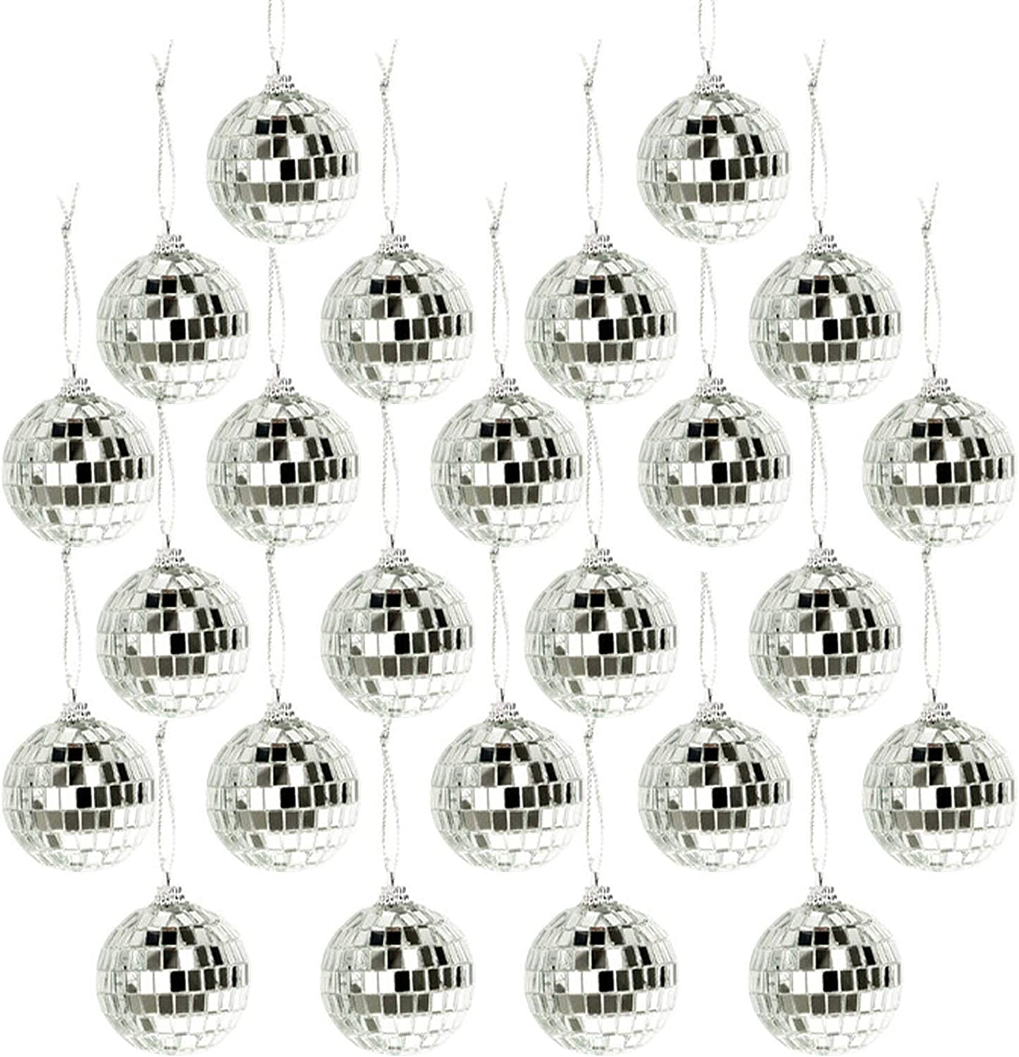 24 Pcs Christmas Ball Ornament, Bright Reflective Mirror Disco Balls, Shatterproof Christmas Tree Hanging Baubles, Reusable Seasonal Decor for Xmas, Holiday, Music Festivals and Party (2 in, Silver)