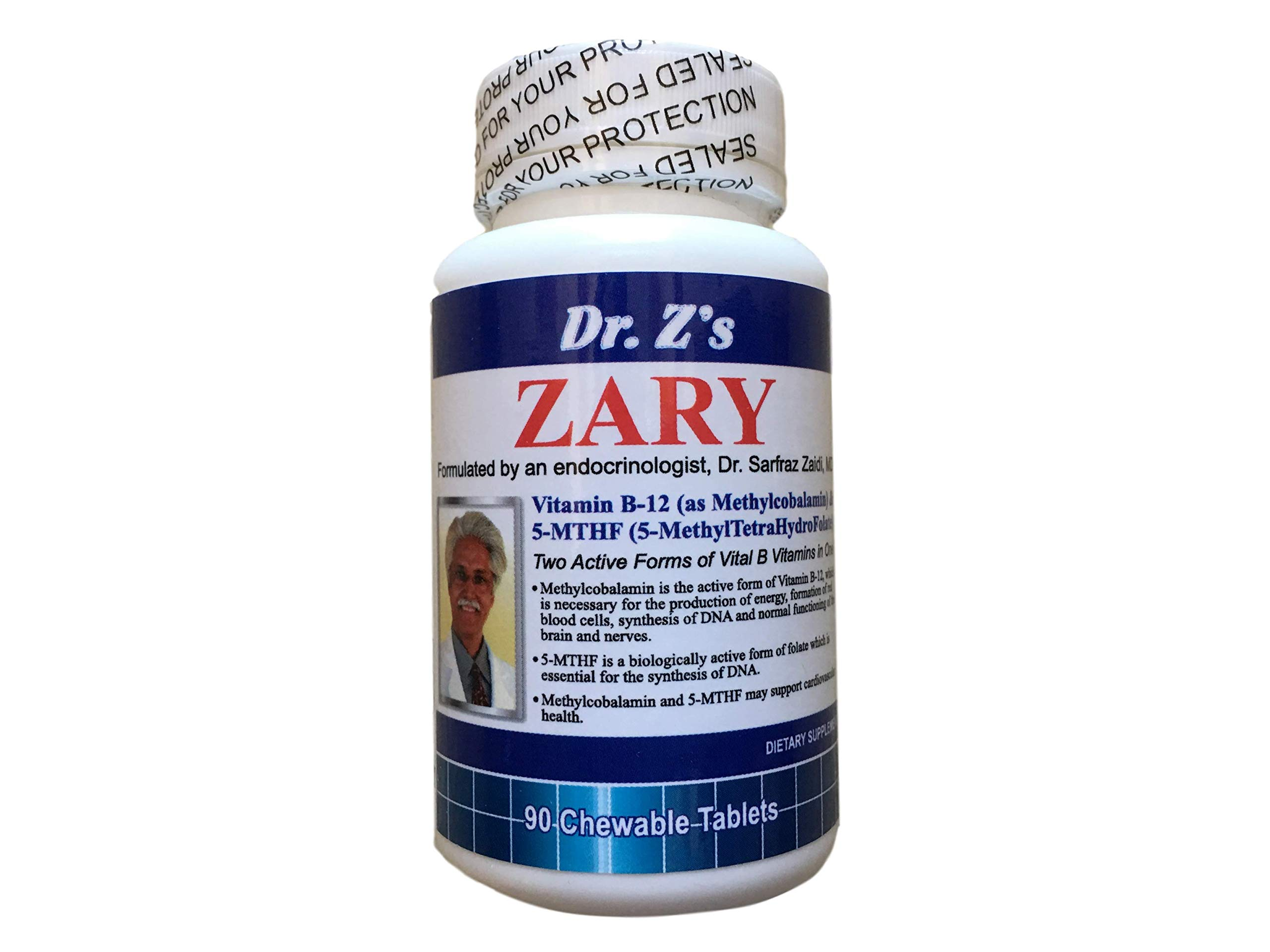 Dr. Z's - ZARY - Methylcobalamin, 5 MTHF Combination - Two Active Forms of Vital B Vitamins in One - 90 Count
