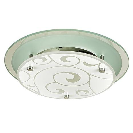MiniSun - Moderno plafón para el techo Portale, a doble nivel con grabados en cristal satinado