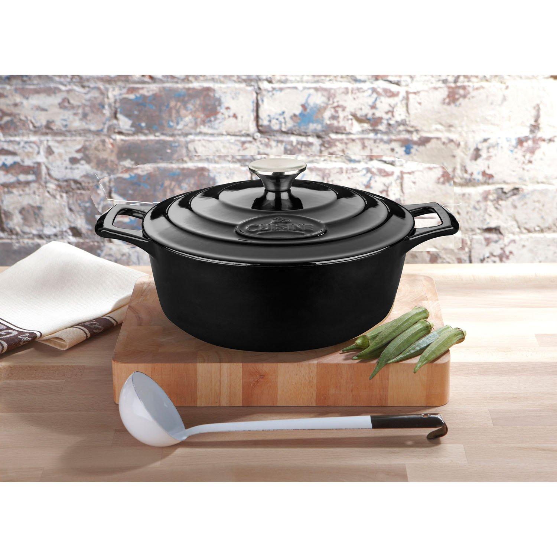 La Cuisine 2.2 Quart Pro Enameled Cast Iron Round Covered Dutch Oven, Black by La Cuisine (Image #3)