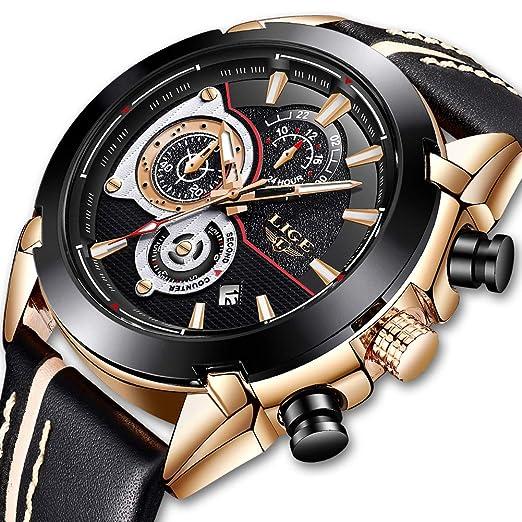 Relojes para Hombres Fashion Business Simulation Dresses Relojes de Cuarzo Marcas de Lujo para Hombres r Relojes multifunción para Aguamarina Reloj de Oro ...