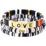 ZSMJYJ Charm Bracelet Stackable Rainbow Tile Enamel Beads Love Bracelets Sets Friendship Jewelry Bangle for Women…