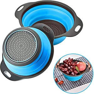 Collapsible Colander Set, Rikivt Kitchen Colanders and Strainers for Pasta, Veggies, Fruits, 1 pc 4 Quart and 1 pc 2 Quart Space-Saving Folding Round Silicone Strainers (Blue)